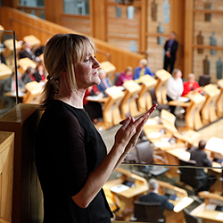 BSL signer in the Debating Chamber