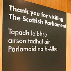 Sign at Parliament in English and Gaelic